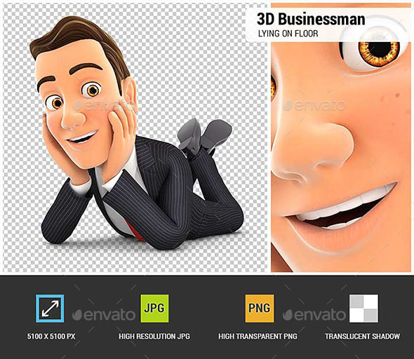 3D Businessman Lying on Floor and Smiling - Characters 3D Renders