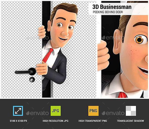 3D Businessman Peeking Behind a Door - Characters 3D Renders