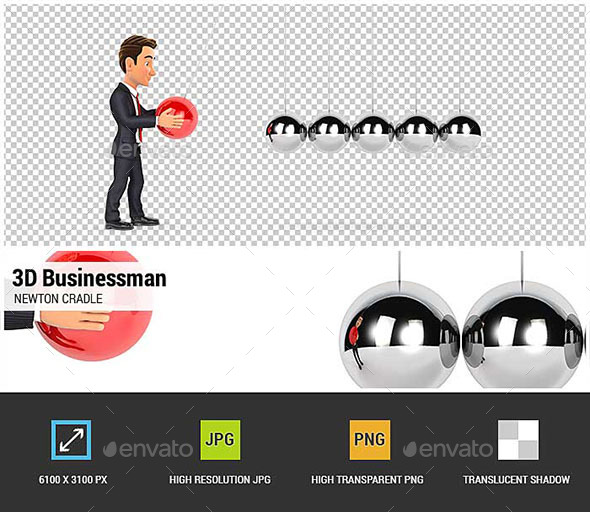3D Businessman Playing with Newton Cradle - Characters 3D Renders