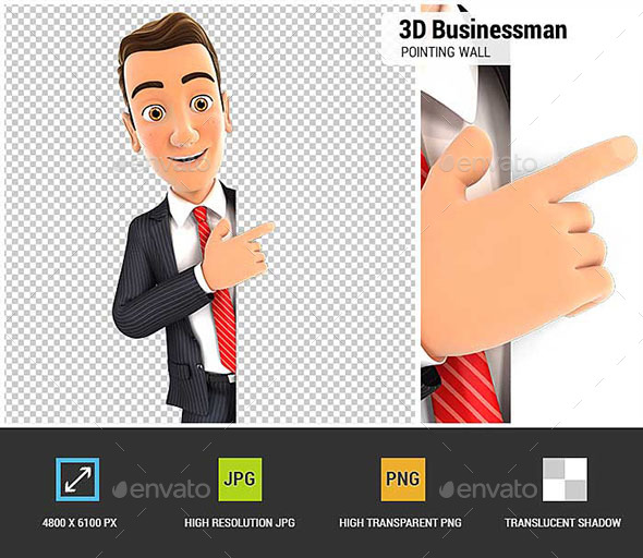 3D Businessman Pointing to Right Blank Wall - Characters 3D Renders