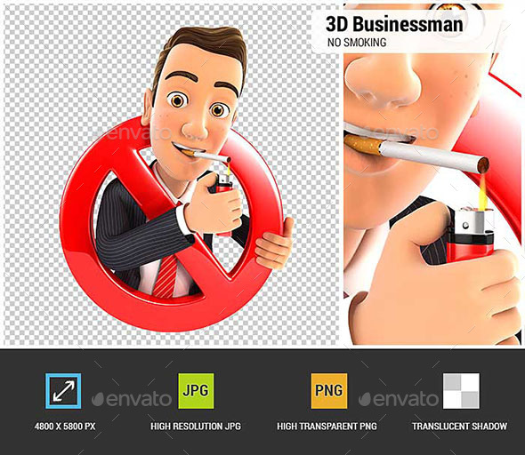 3D Businessman Smoking Cigarette and Surrounded by a Forbidden Sign - Characters 3D Renders
