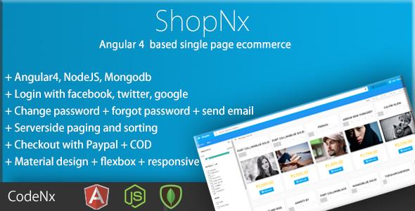 ShopNx - Angular4 Single Page Shopping Cart Application - CodeCanyon Item for Sale