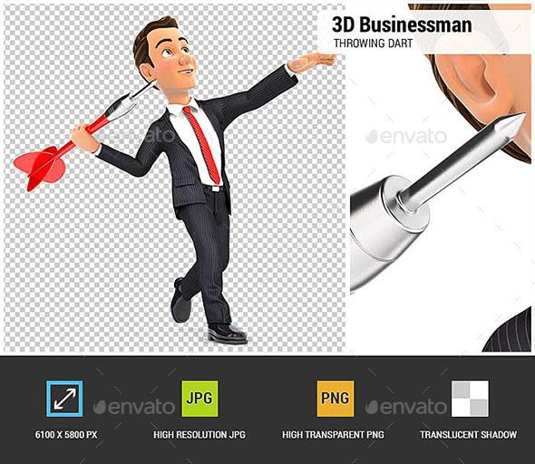 3D Businessman Throwing Dart - Characters 3D Renders