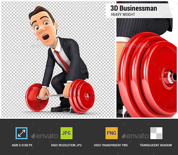 3D Businessman Trying to Lift Heavy Weight - Characters 3D Renders