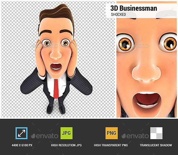 3D Businessman with Shocked Facial Expression - Characters 3D Renders