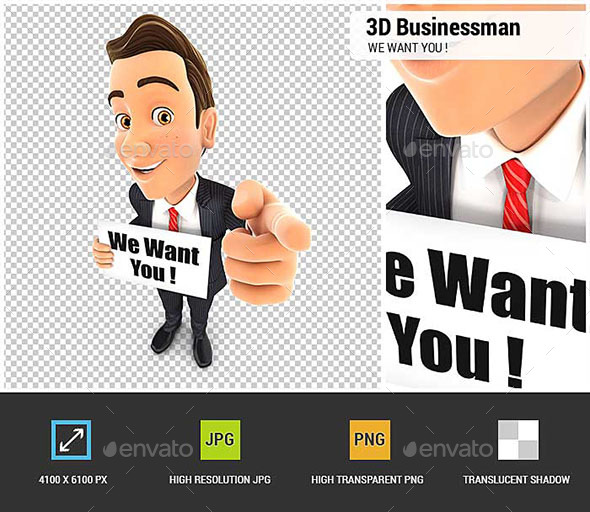 3D Businessman with We Want You Message - Characters 3D Renders