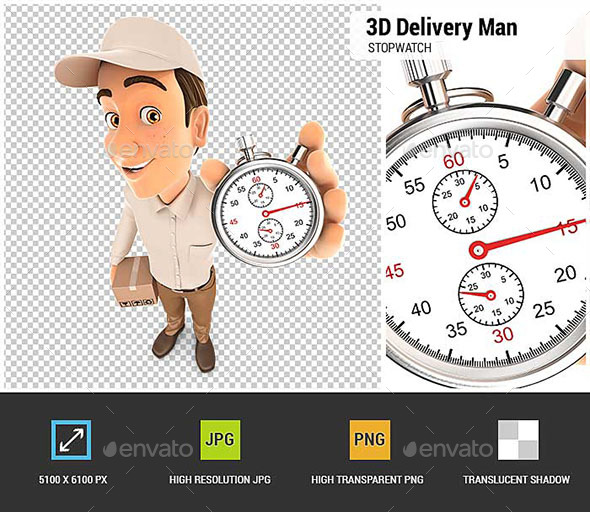 3D Delivery Man Holding Stopwatch - Characters 3D Renders