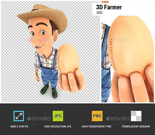 3D Farmer Holding an Egg - Characters 3D Renders