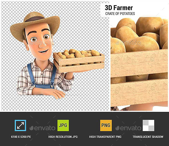 3D Farmer Holding Wooden Crate of Potatoes - Characters 3D Renders