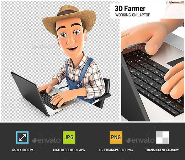 3D Farmer Working on Laptop - Characters 3D Renders