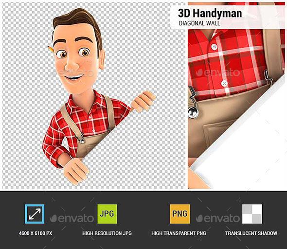 3D Handyman Behind Diagonal Wall - Characters 3D Renders