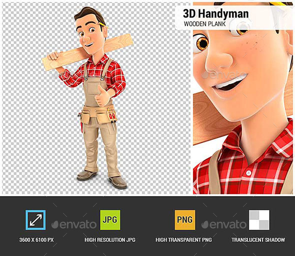3D Handyman Carrying Wooden Plank on Shoulder - Characters 3D Renders