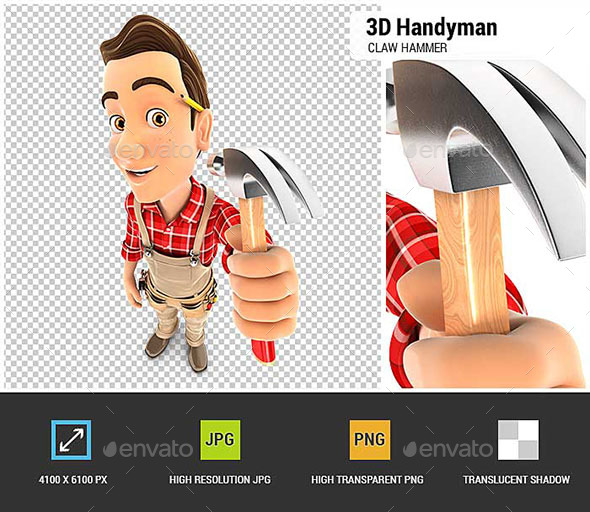 3D Handyman Holding a Claw Hammer - Characters 3D Renders