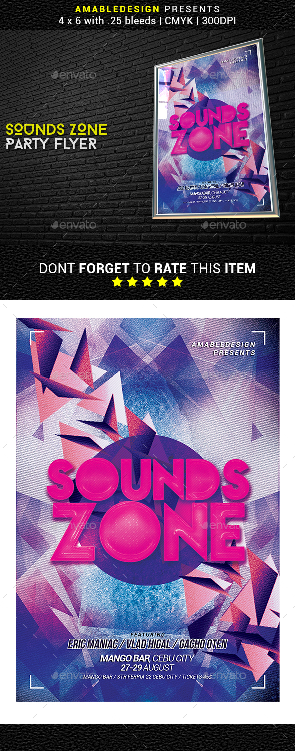 Sounds Zone Party Flyer - Events Flyers