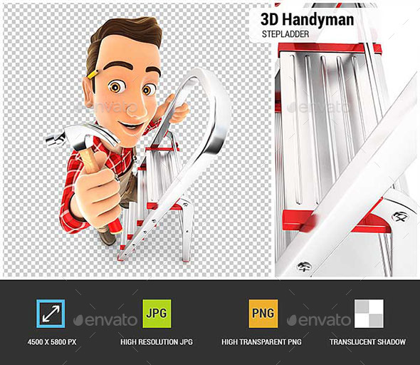 3D Handyman on Stepladder with Claw Hammer - Characters 3D Renders