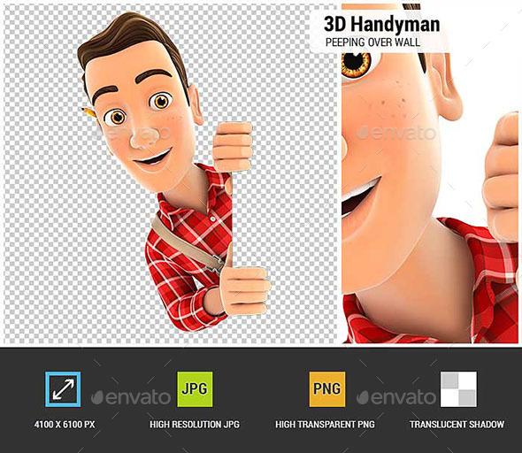 3D Handyman Peeping Over Blank Wall - Characters 3D Renders