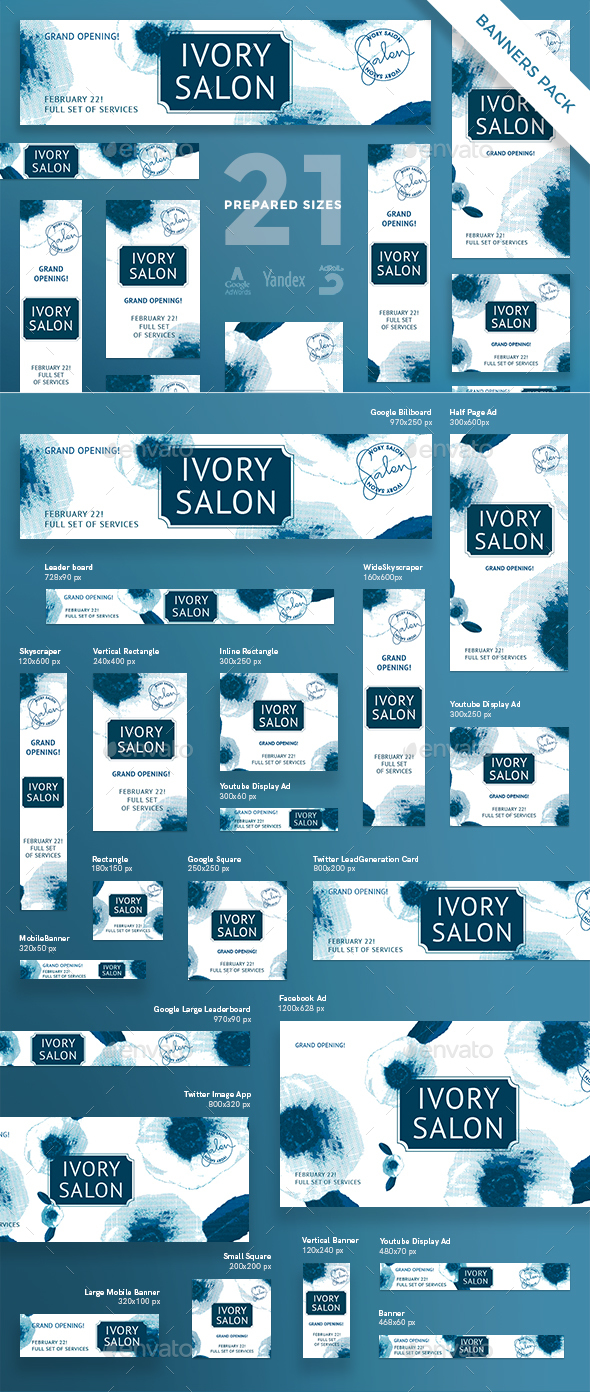 Ivory Salon Banner Pack - Banners & Ads Web Elements