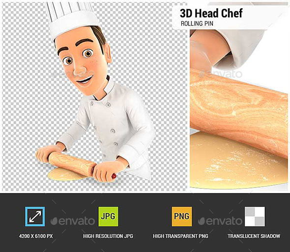 3D Head Chef Using Rolling Pin - Characters 3D Renders