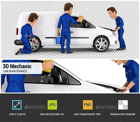 3D Mechanic Car Maintenance - Characters 3D Renders