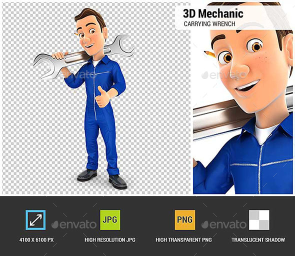 3D Mechanic Carrying Wrench on Shoulder - Characters 3D Renders