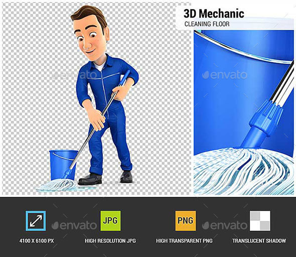 3D Mechanic Cleaning the Floor - Characters 3D Renders