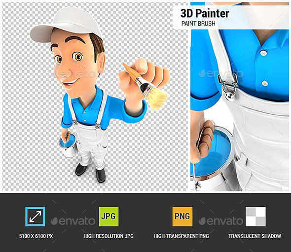 3D Painter with Paint Can and Paint Brush - Characters 3D Renders