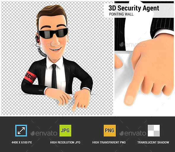 3D Security Agent Pointing to Empty Wall - Characters 3D Renders