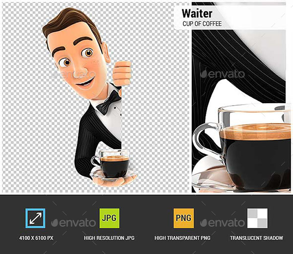 3D Waiter Behind Left Wall and Holding Cup of Coffee - Characters 3D Renders