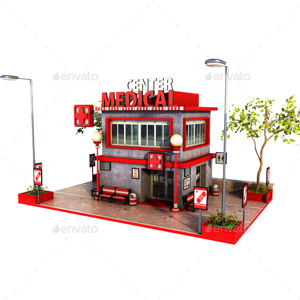 Cartoon Mini Hospital - Architecture 3D Renders