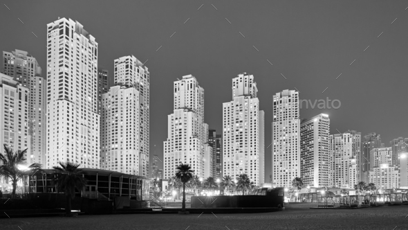 Black and white picture of Dubai at night, UAE.