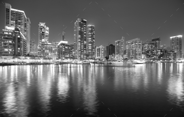Black and white picture of Dubai marina at night, UAE. - Stock Photo - Images