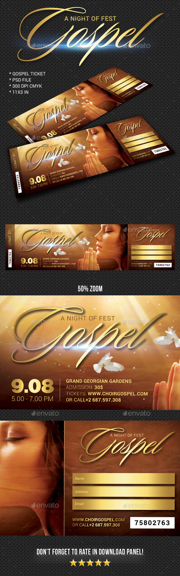 Gospel Fest Event Ticket - Cards & Invites Print Templates
