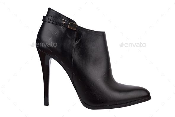 high heel black shoe isolated on white - Stock Photo - Images