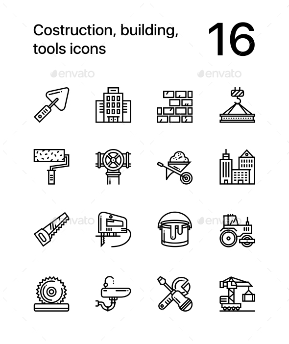 GraphicRiver Construction Building Tools Seamless Vector Outline Icons for Web and Mobile Design Pack 1 20471932