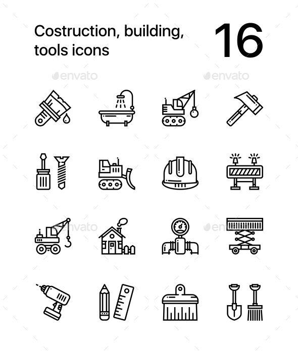 GraphicRiver Construction Building Tools Seamless Vector Outline Icons for Web and Mobile Design Pack 2 20471936