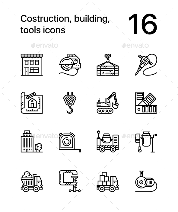 Construction, Building, Tools Seamless Vector Outline Icons for Web and Mobile Design Pack 3 - Buildings Objects