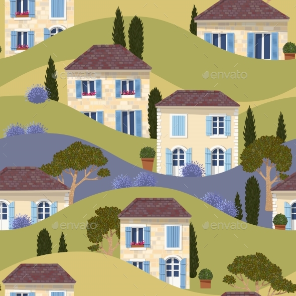 French Town Seamless Pattern - Buildings Objects