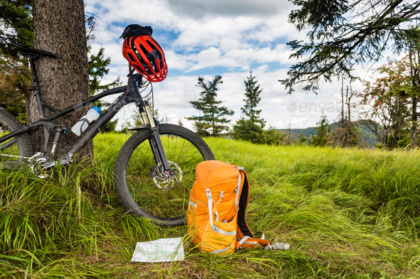 Mountain biking equipment in the woods, bikepacking