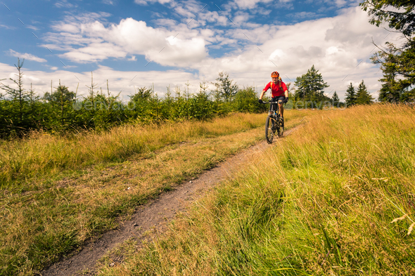 Mountain biker cycling riding in mountains and woods - Stock Photo - Images