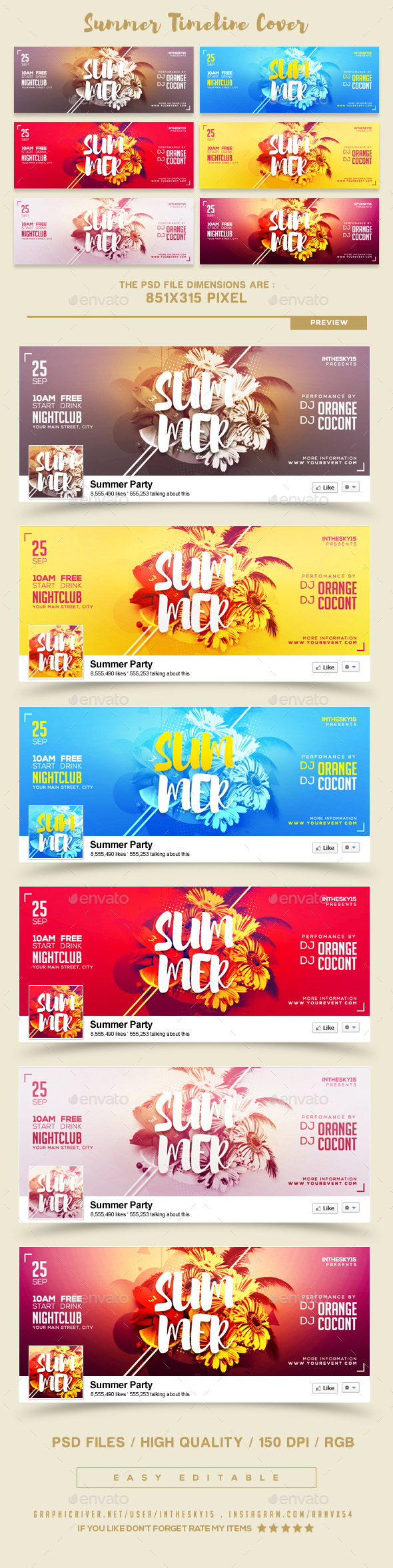 GraphicRiver Summer FB Timeline Covers 20472189