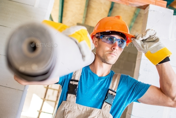 Caucasian Construction Worker - Stock Photo - Images