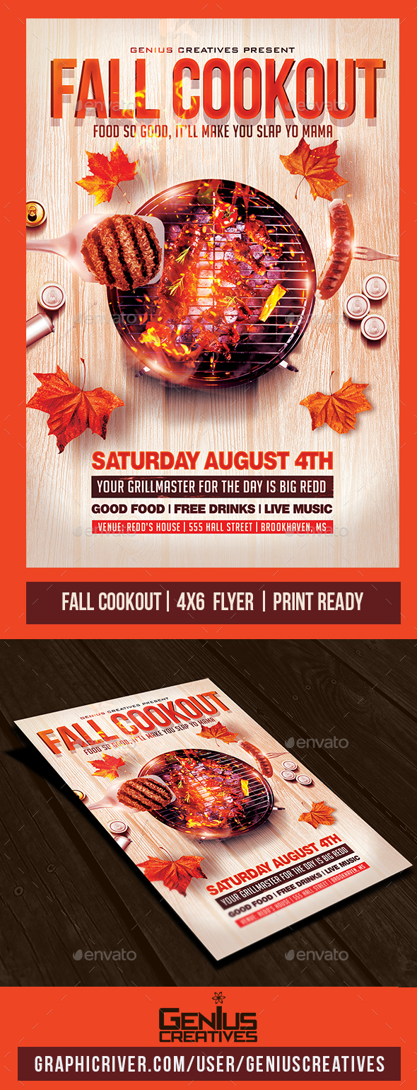 GraphicRiver Fall BBQ Cookout Flyer 20472588