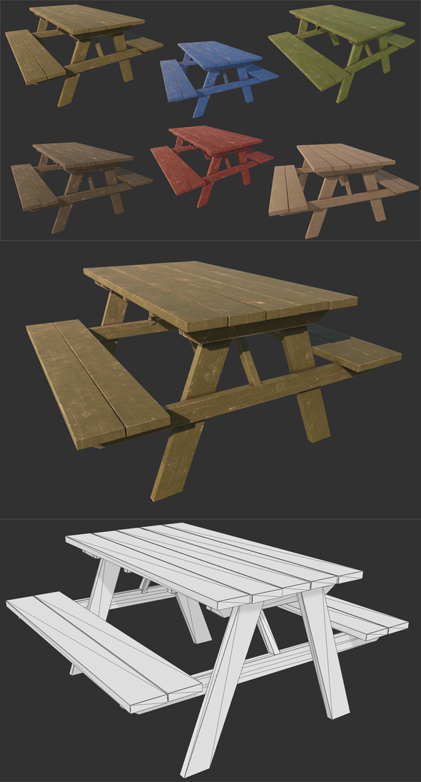 Picnic Park Bench - 3DOcean Item for Sale
