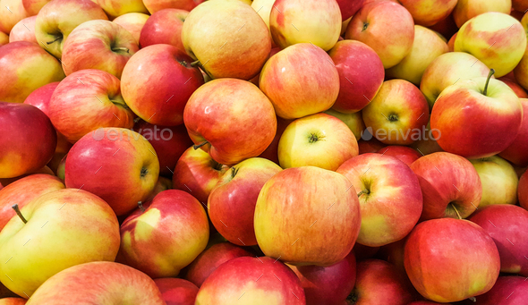 Background of fresh red apples. - Stock Photo - Images
