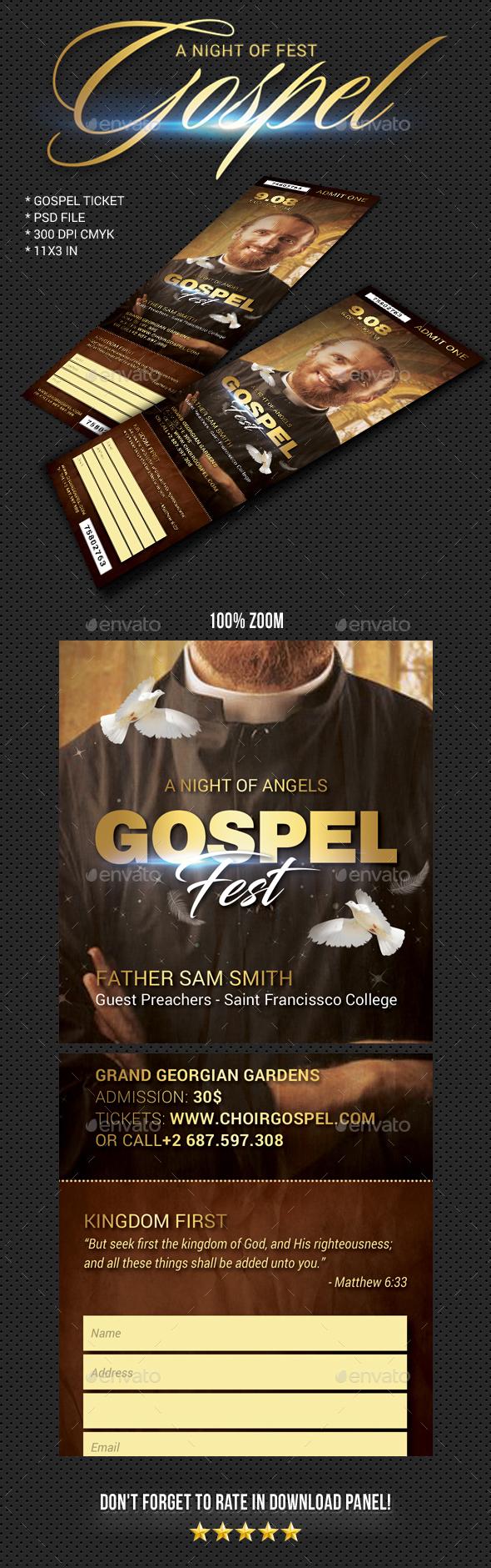 Gospel Fest Event Ticket V2 - Cards & Invites Print Templates