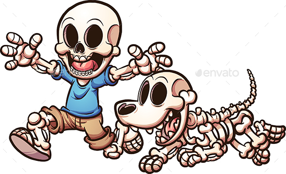 Skeleton Boy and Dog - Halloween Seasons/Holidays