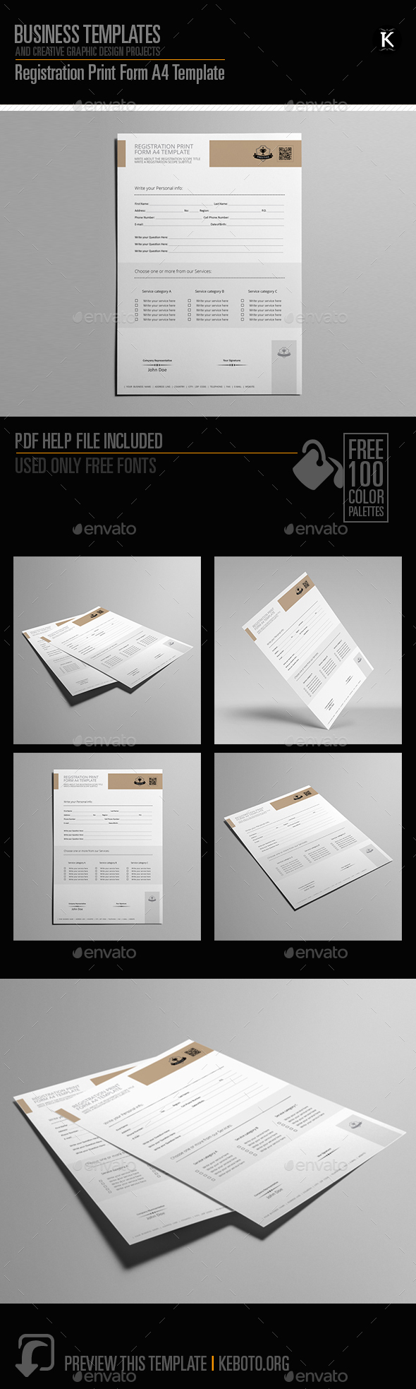 Registration Print Form A4 Template - Miscellaneous Print Templates