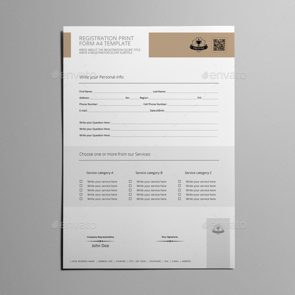 Registration Print Form A4 Template
