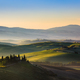 The rolling hills and green fields at sunrise, Tuscany, Italy - PhotoDune Item for Sale
