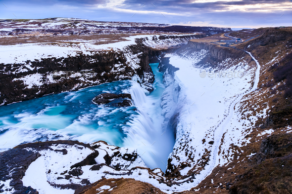 Gullfoss waterfall in Winter, Iceland - Stock Photo - Images